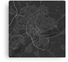 Nottingham, England Map. (White on black) Canvas Print