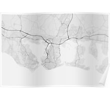 Portsmouth, England Map. (Black on white) Poster