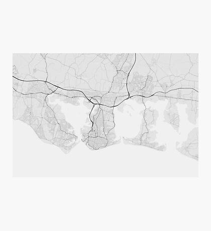 Portsmouth, England Map. (Black on white) Photographic Print