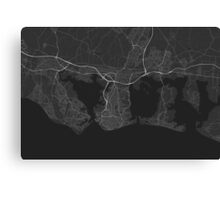 Portsmouth, England Map. (White on black) Canvas Print