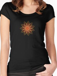 Fractal Flower - Red  Women's Fitted Scoop T-Shirt