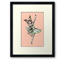 Kitty Ballerina in Cat Ballet imitating Swan Lake Siamese Green Gold Blue Pink  Framed Print
