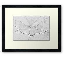 Reading, England Map. (Black on white) Framed Print