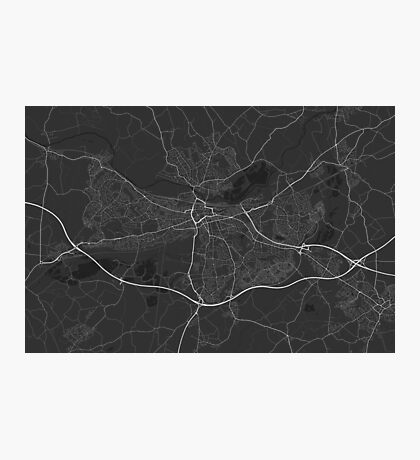 Reading, England Map. (White on black) Photographic Print