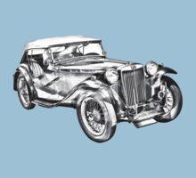 Mg Tc Antique Car Illustration One Piece - Short Sleeve