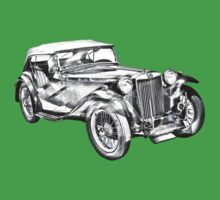 Mg Tc Antique Car Illustration Baby Tee