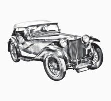 Mg Tc Antique Car Illustration One Piece - Long Sleeve