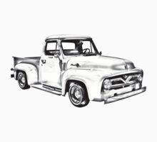 1955 F100 Ford Pickup Truck Illustration One Piece - Short Sleeve