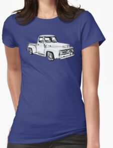 1955 F100 Ford Pickup Truck Illustration Womens Fitted T-Shirt