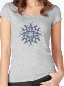 Barbed Blue - Fractal Art design Women's Fitted Scoop T-Shirt