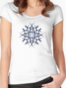 Barbed Blue - Fractal Art design Women's Fitted Scoop T-Shirt