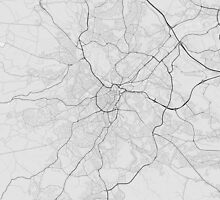 Nottingham, England Map. (Black on white) by Graphical-Maps
