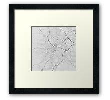 Nottingham, England Map. (Black on white) Framed Print