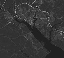 Southampton, England Map. (White on black) by Graphical-Maps