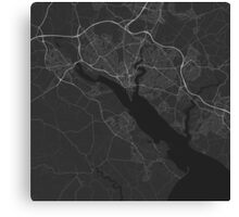 Southampton, England Map. (White on black) Canvas Print
