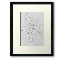 Stoke, England Map. (Black on white) Framed Print