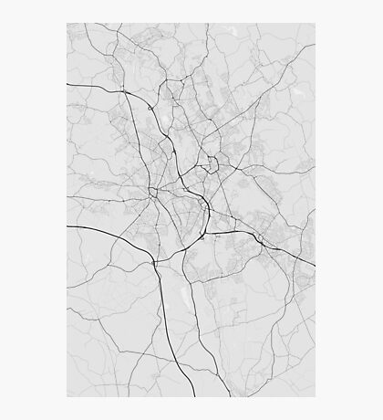 Stoke, England Map. (Black on white) Photographic Print