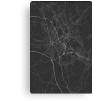 Stoke, England Map. (White on black) Canvas Print
