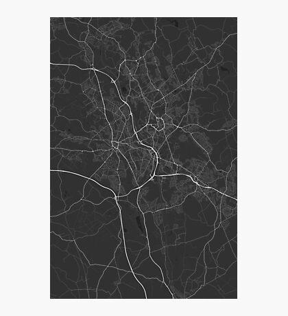 Stoke, England Map. (White on black) Photographic Print
