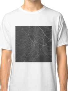 Sheffield, England Map. (White on black) Classic T-Shirt