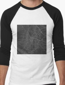 Sheffield, England Map. (White on black) Men's Baseball ¾ T-Shirt