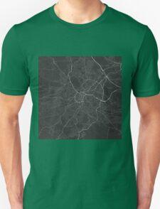 Sheffield, England Map. (White on black) Unisex T-Shirt