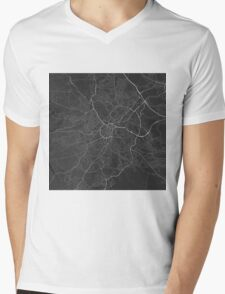 Sheffield, England Map. (White on black) Mens V-Neck T-Shirt