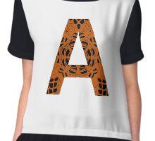 Orange,Black,Letter,Initial,A,Alphabet,Lace Chiffon Top
