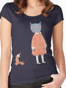 Cat Child Takes a Walk Women's Fitted Scoop T-Shirt
