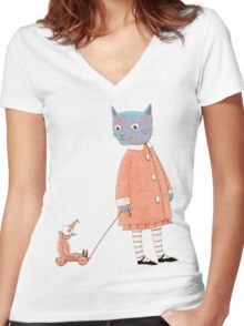 Cat Child Takes a Walk Women's Fitted V-Neck T-Shirt