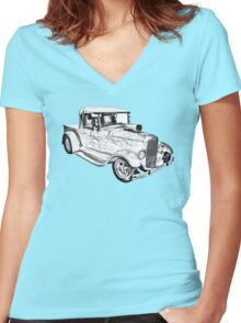 Model A Ford Pickup Hot Rod Illustration Women's Fitted V-Neck T-Shirt