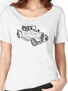 Model A Ford Pickup Hot Rod Illustration Women's Relaxed Fit T-Shirt