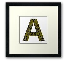 Yellow,Black,Letter,Initial,A,Alphabet,Lace Framed Print