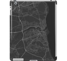Sunderland, England Map. (White on black) iPad Case/Skin