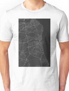 Sunderland, England Map. (White on black) Unisex T-Shirt