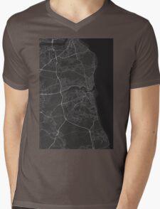 Sunderland, England Map. (White on black) Mens V-Neck T-Shirt