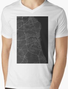 Sunderland, England Map. (White on black) Mens V-Neck T-Shirt