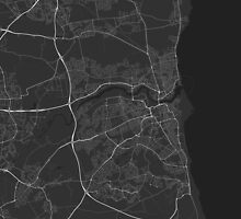 Sunderland, England Map. (White on black) by Graphical-Maps