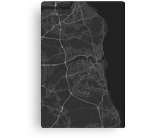 Sunderland, England Map. (White on black) Canvas Print