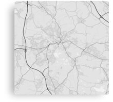 Wigan, England Map. (Black on white) Canvas Print