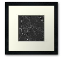 Wigan, England Map. (White on black) Framed Print
