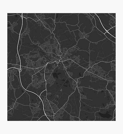 Wigan, England Map. (White on black) Photographic Print