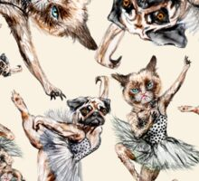 Hipster Ballerinas - Dog Cat Dancers (White) Sticker