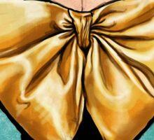 Vintage fashion design, evening gown, golden bow Sticker