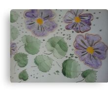 purple flowers and green leaves Canvas Print