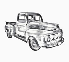 1951 Ford F-1 Pickup Truck Illustration  Kids Tee