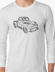 1951 Ford F-1 Pickup Truck Illustration  Long Sleeve T-Shirt