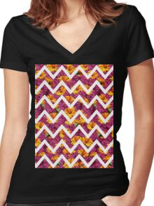 Chevron Summer Women's Fitted V-Neck T-Shirt