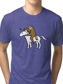 Slothicorn Riding Unicorn Tri-blend T-Shirt