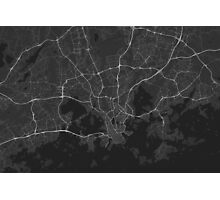 Helsinki, Finland Map. (White on black) Photographic Print